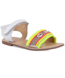 Aria+Nica Shells Detailing Sandals - White