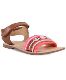 Aria+Nica Shells Detailing Sandals - Brown