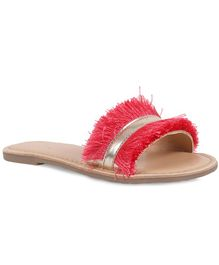 Aria+Nica Fringes Decorated Sliders - Red