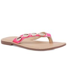 Aria+Nica White Shells On Upper Slippers - Pink