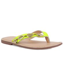 Aria+Nica Gold Color Shells On Upper Slippers - Yellow