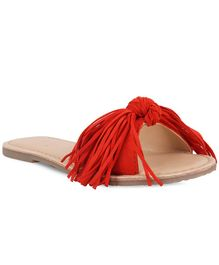 Aria+Nica Fringed Open Toe Flats - Tangerine