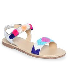 Aria+Nica Multicolour Beads Sandals - Silver