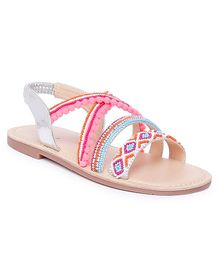 Aria+Nica Beads Embellished Sandals - Silver