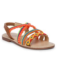 Aria+Nica Beads Embellished Sandals - Tan