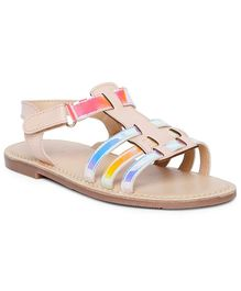 Aria+Nica Holographic Velcro Closure Sandals - Pink
