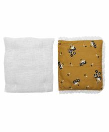 Grandma's Premium Finger Millet Pillow with 2 Pillow Covers Floral Print - Mustard Yellow