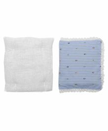 Grandma's Premium Striped Finger Millet Pillow with 2 Pillow Covers  - Blue