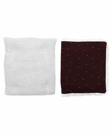 Grandma's Premium Finger Millet Pillow with 2 Pillow Covers Polka Dot Print - Maroon