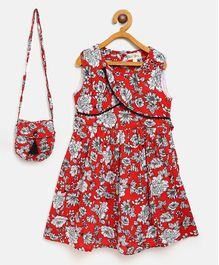 Bella Moda Flower Print Sleeveless Dress With Bag - Red