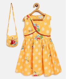 Bella Moda Flower Print Sleeveless Dress With Bag - Yellow