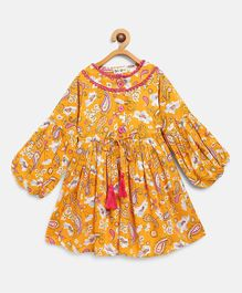 Bella Moda Paisley Print Full Sleeves Dress - Yellow