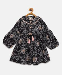 Bella Moda Balloon Full Sleeves Flower Print Dress - Black