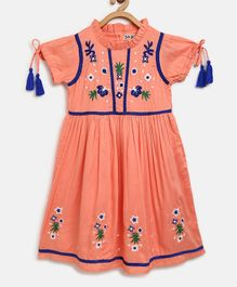 Bella Moda Flower Embroidery Half Sleeves Dress - Peach