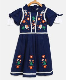 Bella Moda Flower Embroidery Half Sleeves Dress - Blue