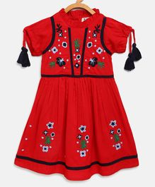 Bella Moda Flower Embroidery Half Sleeves Dress - Red