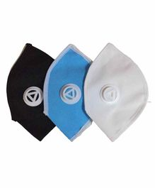 L.O.F Cotton Reusable Dust & Anti Pollution Face Mask Black Blue White- Pack of 3