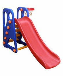 Webby Foldable Slide with Adjustable Height & Basketball Ring - Blue Red