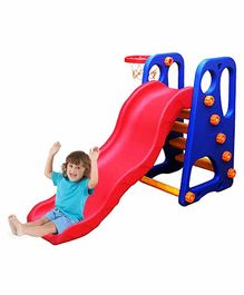 Webby Foldable Wavy Garden Slide with Adjustable Height & Basketball Ring - Blue Red