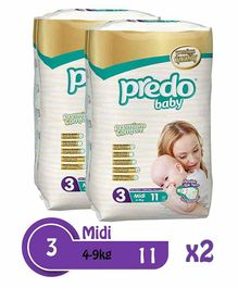 Predo Baby Midi Standard Diapers Size 3 Pack of 2 - 11 Pieces Each