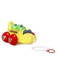Lovely Pull Along Toy Crocodile - Yellow