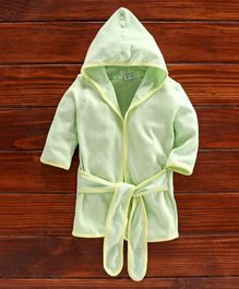Ohms Cotton Full Sleeves Hooded Bath Robe - Light Green