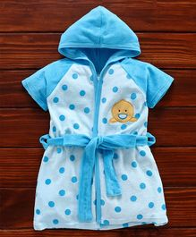 Pink Rabbit Half Sleeves Hooded Polka Dot Bath Robe Duck Embroidery - Blue