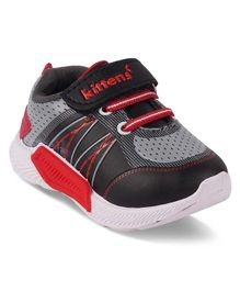Kittens Shoes Printed Velcro Closure Shoes - Red & Black