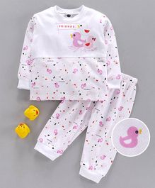 Teddy Full Sleeves T-Shirt & Pant Set Bird Print - White