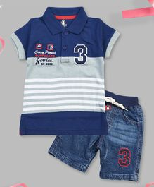 Crazy Penguin Short Sleeves Striped Polo T-Shirt  & Denim Shorts Set - Blue