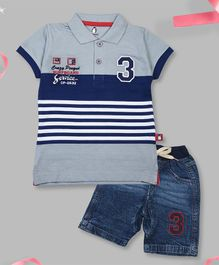 Crazy Penguin Short Sleeves Striped Polo T-Shirt  & Denim Shorts Set - Grey