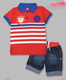 Crazy Penguin Short Sleeves Striped Polo T-Shirt & Denim Shorts Set - Red