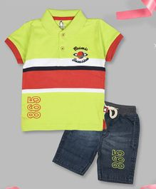 Crazy Penguin Short Sleeves Striped Polo T-Shirt & Denim Shorts Set - Green