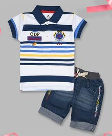 Crazy Penguin Short Sleeves Striped T-Shirt and Denim Shorts Set - White & Deep Blue
