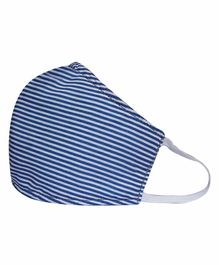Smily Kiddos Striped Cotton Face Mask - Blue