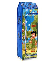 Kids Zone Chota Bheem Folding Almirah with Wheels - Blue