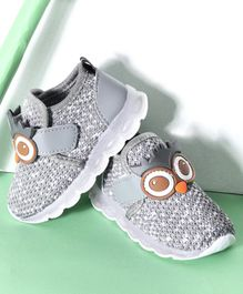 Hoppipola Owl Design Velcro Closure Shoes - Grey