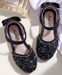 Hoppipola Beads & Flower Embellished Mary Janes - Black