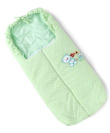 Baby Sleeping Bag with Zipper Teddy Embroidery - Green