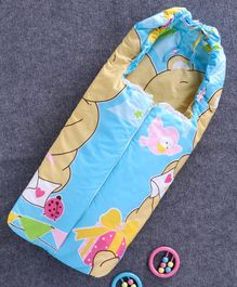 Baby Sleeping Bag with Zip Bear Print - Blue