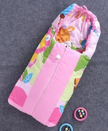 Baby Printed Sleeping Bag with Zip - Pink
