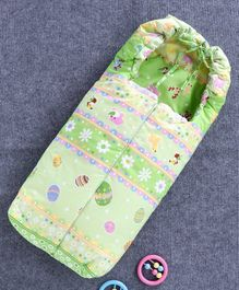 Baby Sleeping Bag with Zip Animal Print - Green