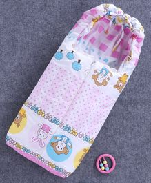 Baby Sleeping Bag with Zip Animal Print - Pink
