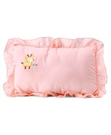 Rectangle Shape Pillow Deer Embroidery - Peach
