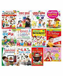 Complete Set for UKG Pre-School Books for Upper Kindergarten Set of 12 Books - English & Hindi