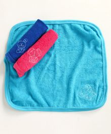 Simply Wash Cloths Animal Embroidery Pack of 3 - Multicolor