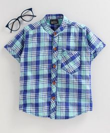 Rikidoos Half Sleeves Checked Front Pocket Shirt - Blue