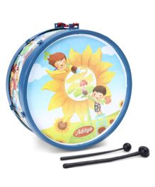 Luvely Musical Drum Set With Sticks Sunflower Print - Blue
