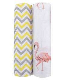 haus & kinder 100% Cotton Muslin Swaddle Wrap Pack of 2 - Yellow & White