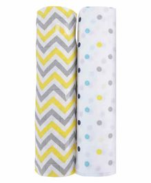 haus & kinder 100% Cotton Muslin Swaddle Wrap Pack of 2 - Multicolor